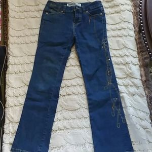 Girls mid rise boot cut jeans with design gems